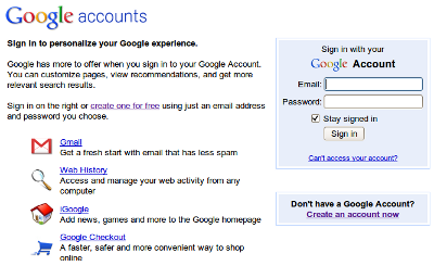Google Accounts の画面
